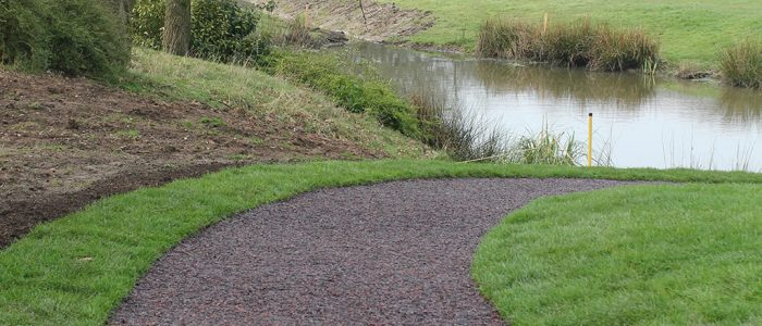 Bonded rubber mulch pathway