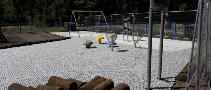 playground surfacing with shockpad installation