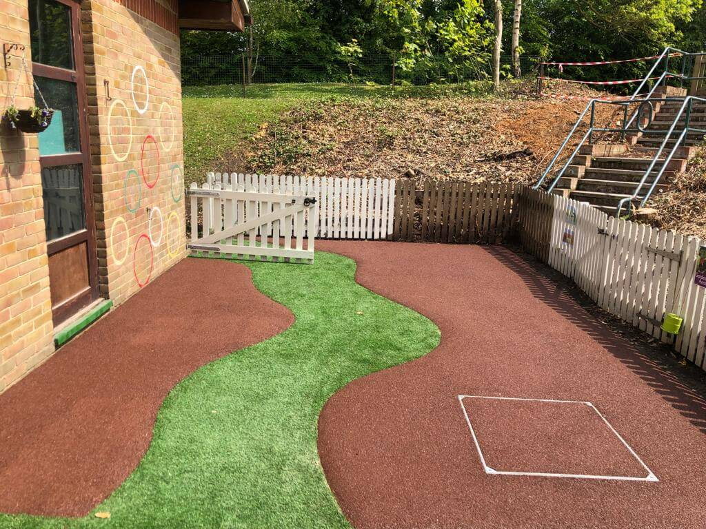 artificial grass and wet pour