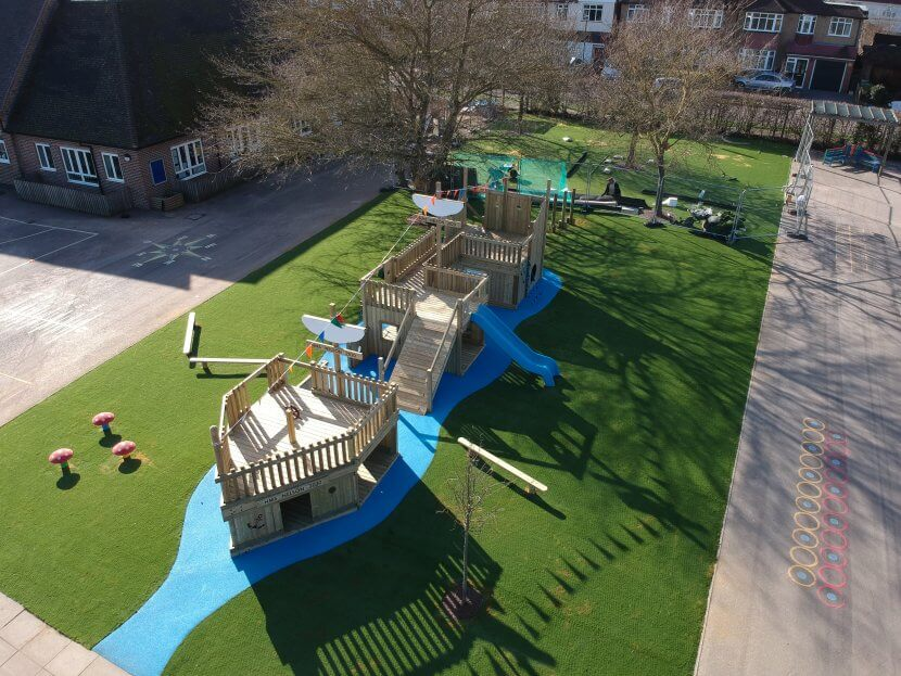 Blue wetpour water and artificial grass